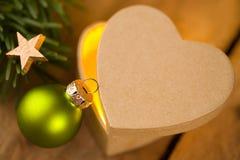 Leuke hart-vormige gift voor Kerstmis Stock Fotografie