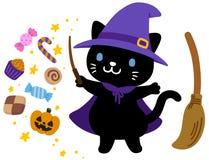 Leuke heksen zwarte kat Halloween stock illustratie