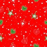 Leuke, heldere en kleurrijke hand getrokken naadloze het patroonvector van Kerstmisharten Stock Afbeelding