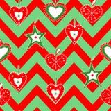Leuke, heldere en kleurrijke hand getrokken naadloze het patroonvector van Kerstmisharten Royalty-vrije Stock Afbeelding