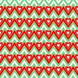 Leuke, heldere en kleurrijke hand getrokken naadloze het patroonvector van Kerstmisharten Royalty-vrije Stock Afbeeldingen