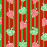 Leuke, heldere en kleurrijke hand getrokken naadloze het patroonvector van Kerstmisharten Stock Foto's