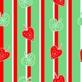 Leuke, heldere en kleurrijke hand getrokken naadloze het patroonvector van Kerstmisharten Royalty-vrije Stock Fotografie
