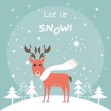 Leuke Herten in de Winter Forest Christmas Card Royalty-vrije Stock Fotografie