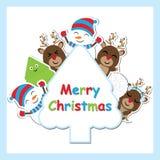 Leuke herten, sneeuwman en het vectorbeeldverhaal van de Kerstmisboom op boomkader voor Kerstmisprentbriefkaar, behang, en groetk vector illustratie