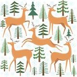 Leuke herten vectorreeks Rendier met boom De winter bosillustratie stock illustratie