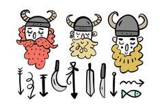 Leuke het beeldverhaalset van tekens van Vikingen, Skandinavische stijl Vector graphhics royalty-vrije illustratie