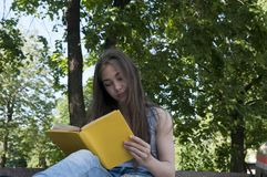 Leuke het boekzitting van de tienerlezing op de bank in park, openlucht bestuderen Stock Foto