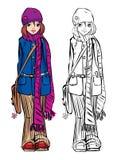 Leuke het meisjesvulling gestripte sjaal van de winter Royalty-vrije Stock Foto's