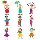 Leuke het ontwerpreeks van het clownkarakter stock illustratie