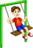 Leuke het spelschommeling van het jongensbeeldverhaal met het lachen vector illustratie