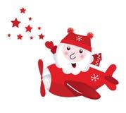 Leuke het vliegen Kerstman wat betreft KerstmisSterren Royalty-vrije Stock Afbeeldingen