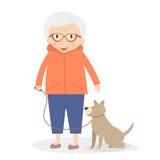 Leuke hogere vrouw met hond op de gang Grootmoeder in sportkleren Vector illustratie royalty-vrije illustratie