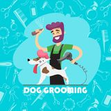 Leuke hond bij groomersalon en reeks pictogrammen vector illustratie