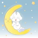 Leuke hond die op de maan slapen Stock Illustratie