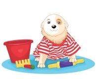 Leuke hond die vectorillustratie zit stock illustratie
