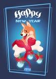 Leuke Hond met Verfraaid Been die over Gelukkig Nieuwjaar het Aziatische Symbool van 2018 van letters voorzien Royalty-vrije Stock Fotografie