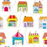 Leuke huizen in het stads naadloze patroon met straat en wegen Vector illustratie vector illustratie