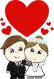 Leuke huwelijkskarakters royalty-vrije illustratie