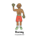 Leuke illustratie van een bokser met zijn die hand in bokshandschoenen wordt opgeheven Stock Afbeelding