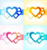 Leuke inzameling met zonnige harten. Reeks romantische Valentijnskaartenbanners vector illustratie