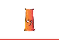 Leuke Jelly Monster die met één tand het tonen denken Stock Foto's