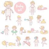 Leuke jonge geitjes in badpakken royalty-vrije illustratie