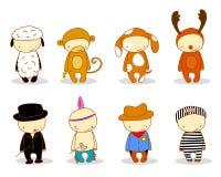 Leuke jonge geitjes in kostuums Stock Foto's