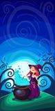 Leuke jonge heks voor Halloween-kaarten Vectorillustrati van de klemkunst Stock Afbeelding