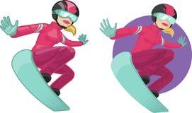 Leuke jonge Kaukasische vrouw op snowboard vector illustratie