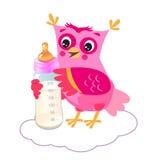 Leuke Jonge uil met Melkfles Welkom babymeisje Vector illustratie Royalty-vrije Stock Afbeeldingen