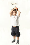 Leuke jongen die batminton spelen Stock Fotografie