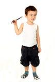 Leuke jongen die batminton spelen Stock Foto