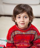 Leuke Jongen die Sweater dragen tijdens Kerstmis Stock Afbeelding