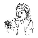 Leuke jongen in piraatkostuum voor Halloween, Nieuwjaar Royalty-vrije Stock Afbeelding