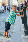 Leuke jongen in Praag Royalty-vrije Stock Foto's