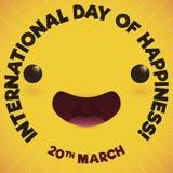 Leuke Joy Expression Smiling Promoting International-Dag van Geluk, Vectorillustratie royalty-vrije illustratie