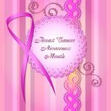 Leuke kaart in het scrapbooking van stijl De Voorlichtingsmaand van borstkanker Royalty-vrije Stock Afbeelding