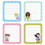 Leuke kaarten of stickers met fee Stock Afbeeldingen