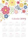 Leuke kalender voor het jaar van 2019 Het begin van de week op Zondag Vectormalplaatje met helder bloemenornament van kleurrijke  stock illustratie