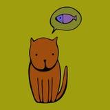 Leuke kat De vectorillustratie van het beeldverhaal Stock Fotografie