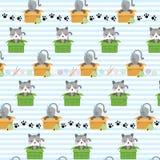 Leuke kat in doos vector naadloos patroon royalty-vrije illustratie
