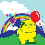 Leuke Kat en ballons Royalty-vrije Stock Foto's