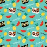 Leuke kat en het naadloze patroon van het de zomerfruit vector illustratie