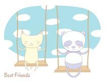 Leuke kat en panda op een schommeling stock illustratie