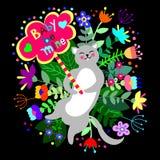 Leuke kat met bloemenachtergrond en plaat met lege ruimte voor tekst stock illustratie