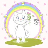 Leuke kat met boeket van bloemen en inschrijving voor u royalty-vrije illustratie