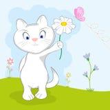Leuke Kat met een Bloem Stock Illustratie
