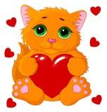 Leuke kat met een hartvector Royalty-vrije Stock Foto