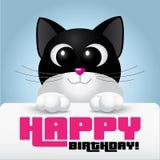 Leuke kat met grote ogen die een gelukkige verjaardagskaart houden Stock Afbeeldingen